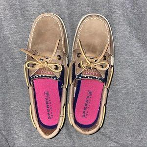 Sperry Boat Shoes Girls 3.5 Navy Polka Dot